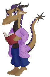 Size: 2858x4366 | Tagged: safe, artist:sixes&sevens, twilight sparkle, anthro, book, clothes, dragonborn, dungeons and dragons, female, horns, pen and paper rpg, robe, rpg, simple background, solo, transparent background, wizard