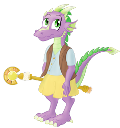 Size: 3316x3531 | Tagged: safe, artist:sixes&sevens, spike, kobold, cleric, dungeons and dragons, horns, male, pen and paper rpg, rpg, simple background, solo, staff, transparent background