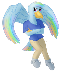 Size: 1686x2007 | Tagged: safe, artist:sixes&sevens, rainbow dash, anthro, aarakocra, crossed arms, dungeons and dragons, female, monk, pen and paper rpg, rpg, simple background, solo, transparent background, wings