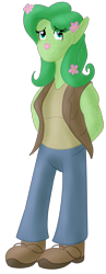 Size: 1195x3068 | Tagged: safe, artist:sixes&sevens, fluttershy, anthro, firbolg, clothes, dungeons and dragons, flower, flower in hair, pen and paper rpg, rpg, simple background, transparent background, vest