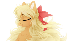 Size: 1920x1080 | Tagged: safe, artist:vird-gi, applejack, earth pony, pony, alternate hairstyle, beautiful, bow, braid, bust, chest fluff, cute, ear fluff, eyes closed, female, hair bow, jackabetes, loose hair, mare, open mouth, portrait, simple background, solo, white background, windswept mane