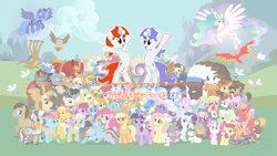 Size: 1920x1080 | Tagged: safe, artist:spltfyre, angel bunny, apple bloom, applejack, big macintosh, braeburn, cheerilee, daisy, derpy hooves, diamond tiara, doctor whooves, flower wishes, fluttershy, granny smith, gummy, lily, lily valley, opalescence, owlowiscious, philomena, photo finish, pinkie pie, princess celestia, princess luna, rainbow dash, rarity, roseluck, scootaloo, silver spoon, snails, snips, soarin', spike, spitfire, steven magnet, sweetie belle, time turner, trixie, twilight sparkle, twist, winona, zecora, oc, oc:discentia, oc:karma, alicorn, buffalo, cockatrice, diamond dog, earth pony, hydra, manticore, parasprite, pegasus, pony, unicorn, zebra, background six, cutie mark, cutie mark crusaders, downvote, female, flower trio, mane six, mare, multiple heads, ponified, reddit, royal guard, unicorn twilight, upvote, wallpaper