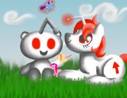 Size: 1040x800 | Tagged: safe, artist:jenniferocious19, fluttershy, pinkie pie, rainbow dash, oc, oc:karma, earth pony, pegasus, pony, unicorn, cloud, cutie mark, female, glowing horn, grass, horn, lying down, magic, magic aura, mare, playing with toys, ponified, reddit, snoo, toy, upvote