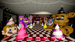 Size: 3840x2160 | Tagged: safe, artist:optimussparkle, pinkie pie, sci-twi, sunset shimmer, twilight sparkle, oc, equestria girls, equestria girls series, 3d, birthday, birthday cake, bonnie, cake, chica, crossover, five nights at freddy's, food, glitchtrap, happy birthday, hat, mario, non-mlp oc, party hat, shadow freddy, source filmmaker, super mario bros.