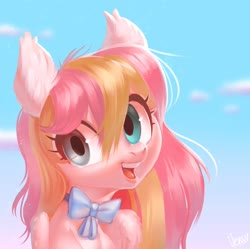 Size: 2048x2041   Tagged: safe, artist:vensual99, oc, oc only, oc:ninny, pegasus, pony, bowtie, bust, fluffy, looking at you, pastel, portrait, two toned wings, wings
