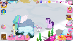Size: 1334x750 | Tagged: safe, artist:topsangtheman, derpy hooves, princess celestia, silverstream, starlight glimmer, sweetie belle, twilight sparkle, alicorn, hippogriff, pegasus, pony, unicorn, balloon, bits, game screencap, gameloft, gem, hearth's warming eve, snow, winter