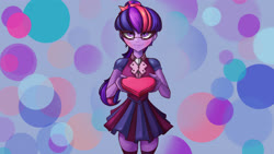 Size: 3840x2160   Tagged: safe, artist:alexsavenije, sci-twi, twilight sparkle, equestria girls, 4k, abstract background, blushing, clothes, cute, female, glasses, heart, holiday, looking at you, present, school uniform, skirt, socks, solo, stockings, thigh highs, twiabetes, valentine's day, zettai ryouiki