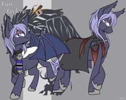 Size: 1280x1024   Tagged: safe, artist:housho, bat pony, pony, bat wings, cape, clothes, eyeshadow, fire emblem, fire emblem: three houses, makeup, ponified, wings, yuri leclerc