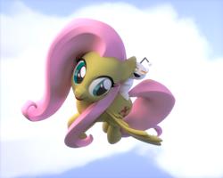 Size: 1280x1024 | Tagged: safe, artist:thordwolf, fluttershy, pegasus, pony, 3d, blender, cloud, cutie mark, female, flying, mare, reddit, simple background, snoo