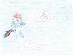 Size: 2791x2148 | Tagged: safe, artist:sayak97, rainbow dash, pegasus, pony, cloud, cutie mark, female, flying, mare, reddit, snoo, traditional art
