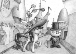 Size: 1575x1113 | Tagged: safe, artist:mortalflaw, dark moon, rarity, pony, unicorn, black and white, cane, canterlot, cutie mark, female, giant hat, graphite drawing, grayscale, hat, mare, monochrome, monocle, reddit, snoo, top hat, traditional art