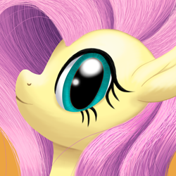 Size: 2000x2000 | Tagged: safe, artist:stellardust, derpibooru exclusive, fluttershy, pegasus, pony, bust, female, high res, looking at you, mare, portrait, profile, simple background, smiling, solo