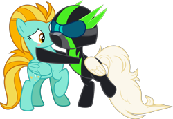 Size: 7265x5001 | Tagged: safe, artist:digimonlover101, lightning dust, oc, pegasus, pony, absurd resolution, clothes, female, hug, mare, simple background, transparent background, uniform, vector, washouts uniform