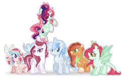 Size: 1923x1203 | Tagged: safe, artist:6-fingers-lover, oc, oc only, oc:fire ball, oc:lucky hoof (6-fingers-lover), oc:poison ivy, oc:smooth blue, oc:strong heart, oc:sugar cane, dracony, dragon, earth pony, hybrid, pegasus, pony, unicorn, female, interspecies offspring, levitation, magic, magical lesbian spawn, mare, offspring, parent:applejack, parent:bulk biceps, parent:fluttershy, parent:pinkie pie, parent:princess ember, parent:princess skystar, parent:rainbow dash, parent:rarity, parent:sunset shimmer, parent:troubleshoes clyde, parent:twilight sparkle, parents:embershy, parents:raribulk, parents:skypie, parents:sunsetdash, parents:troublejack, parents:twidash, self-levitation, simple background, straw in mouth, telekinesis, transparent background