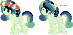 Size: 600x293 | Tagged: safe, artist:space-higanbana, oc, oc:darjeeling brew, earth pony, pony, base used, female, floral head wreath, flower, magical lesbian spawn, mare, offspring, parent:fluttershy, parent:tree hugger, parents:flutterhugger, simple background, solo, transparent background