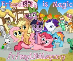 Size: 619x516 | Tagged: safe, artist:leidenpierce, angel bunny, applejack, bon bon, carrot top, derpy hooves, doctor whooves, fluttershy, golden harvest, lyra heartstrings, pinkie pie, rainbow dash, rarity, spike, sweetie drops, tank, time turner, twilight sparkle, dragon, earth pony, pegasus, pony, unicorn, advertisement, carrot, food, mane seven, mane six, ponyville, reddit