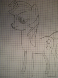 Size: 2121x2828 | Tagged: safe, artist:shawnyall, oc, oc only, oc:apathia, pony, unicorn, cutie mark, downvote, female, graph paper, grayscale, mare, monochrome, reddit, traditional art, upvote