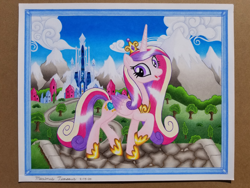 Size: 4032x3024 | Tagged: safe, artist:maximustimaeus, princess cadance, alicorn, cloud, cobblestone street, colored pencil drawing, crystal empire, female, happy, hooves, mountain, road, snow, solo, traditional art, tree, vector used