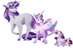 Size: 4961x3508 | Tagged: safe, artist:uunicornicc, princess flurry heart, twilight velvet, oc, oc:summer ballad, pegasus, pony, colt, high res, magical lesbian spawn, male, offspring, parent:rainbow dash, parent:twilight sparkle, parents:twidash, simple background, white background