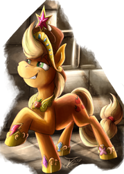 Size: 1988x2782 | Tagged: safe, artist:jamescorck, applejack, earth pony, applejack's hat, big crown thingy, cowboy hat, crown, element of generosity, element of honesty, element of kindness, element of laughter, element of loyalty, element of magic, elements of harmony, female, hat, jewelry, regalia, simple background, smug, solo, transparent background