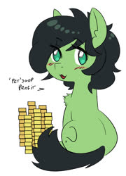 Size: 696x965 | Tagged: safe, artist:lockhe4rt, oc, oc:filly anon, female, filly, gold coins, solo