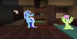 Size: 1353x685 | Tagged: safe, merry may, minuette, bed, minecraft, smiling