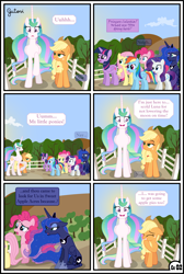 Size: 3254x4838 | Tagged: safe, artist:gutovi, applejack, fluttershy, pinkie pie, princess celestia, princess luna, rainbow dash, rarity, twilight sparkle, alicorn, earth pony, pegasus, pony, unicorn, comic:why me!?, alternate ending, alternate hairstyle, applelestia, comic, female, lesbian, mane six, missing accessory, pigtails, shipping, shipping denied, sun, sunrise, sweet apple acres, twilight sparkle (alicorn)