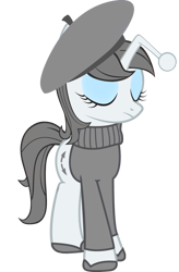 Size: 1000x1529 | Tagged: safe, artist:cool77778, oc, oc only, oc:apathia, pony, unicorn, beret, clothes, eyes closed, eyeshadow, female, french, hat, makeup, mare, reddit, shoes, simple background, solo, sweater, transparent background, vector