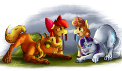Size: 2000x1160 | Tagged: safe, artist:jamescorck, apple bloom, applejack, rarity, sweetie belle, cat, earth pony, hengstwolf, timber pony, timber wolf, unicorn, werewolf, comic:that time of the month, apple bloom's bow, bow, curious, cursed, female, females only, hair bow, hissing, leash, raricat, species swap, timberjack, transformation, unikitty, werecat