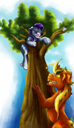 Size: 1160x2000 | Tagged: safe, artist:jamescorck, applejack, rarity, cat, earth pony, hengstwolf, timber pony, timber wolf, unicorn, werewolf, comic:that time of the month, angry, barking, blood, climbing, cursed, female, females only, pain star, raricat, scratches, species swap, timberjack, transformation, tree, tree branch, unikitty, werecat