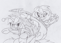 Size: 824x587 | Tagged: safe, artist:dfectivedvice, oc, oc only, oc:discentia, oc:karma, pony, unicorn, action pose, black and white, claws, cutie mark, female, grayscale, mare, monochrome, ponified, reddit, simple background, sketch, sword, traditional art, transparent background, upvote, weapon