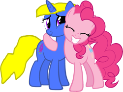 Size: 1761x1327 | Tagged: safe, artist:kayman13, pinkie pie, oc, oc:kellen, earth pony, pony, unicorn, eyes closed, female, females only, grin, holding, horn, hugging a pony, love, mare, simple background, smiling, transparent background