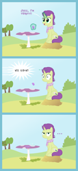 Size: 1800x3950 | Tagged: safe, artist:devfield, oc, oc:sky spark, pony, unicorn, ..., apple, bush, clothes, clover cafe, comic, dropping, female, food, glass, grape juice, grass, grass field, hay, hay bale, inside joke, juice, levitation, magic, magic aura, mare, offscreen character, outdoors, scarf, shadow, show accurate, sky, smiling, speech bubble, spill, spilled drink, surprised, table, telekinesis, text, thirsty, tree, unamused