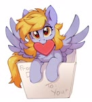Size: 1841x2048 | Tagged: safe, artist:share dast, derpy hooves, pegasus, pony, box, cute, derpabetes, female, looking at you, mare, mouth hold, pony in a box, smiling, solo, spread wings, wings