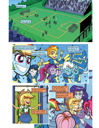 Size: 612x792 | Tagged: safe, artist:greatdinn, artist:newbiespud, edit, edited screencap, idw, screencap, applejack, fleetfoot, fluttershy, high winds, pinkie pie, rainbow dash, rarity, spitfire, comic:friendship is dragons, equestria girls, cheering, clothes, collaboration, comic, cutie mark, cutie mark on clothes, eyes closed, female, football, grin, hat, hug, screencap comic, skirt, smiling, sports, wonderbolts