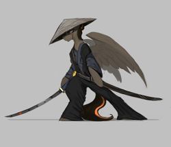 Size: 2240x1920 | Tagged: safe, artist:nsilverdraws, oc, oc only, oc:aegis sundown, pegasus, pony, backstory in description, clothes, conical hat, father, green eyes, hat, japanese, katana, male, scabbard, simple background, solo, straw hat, sword, weapon