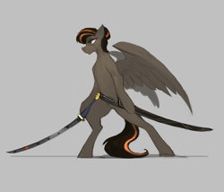 Size: 2240x1920 | Tagged: safe, alternate version, artist:nsilverdraws, oc, oc only, oc:aegis sundown, pegasus, pony, backstory in description, father, green eyes, japanese, katana, male, scabbard, simple background, solo, sword, weapon