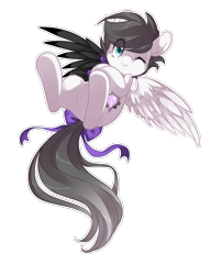 Size: 923x1200 | Tagged: safe, artist:loyaldis, oc, oc only, oc:snow bright, pegasus, pony, amputee, artificial wings, augmented, blue eyes, bow, cute, cutie mark, flying, grey hair, intersex, mechanical wing, one eye closed, owner:xheotris, pegasus oc, prosthetic limb, prosthetic wing, prosthetics, short hair, simple background, tail bow, transparent background, white outline, wings, wink