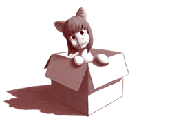 Size: 3500x2500 | Tagged: safe, artist:fynjy-87, oc, oc only, oc:lunette, bat pony, pony, box, monochrome, pony in a box, solo
