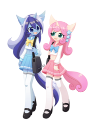 Size: 1200x1688 | Tagged: safe, artist:howxu, minuette, twinkleshine, anthro, belly button, clothes, commission, cute, duo, ear fluff, female, hair accessory, midriff, open mouth, sailor uniform, school bag, short shirt, skirt, socks, stars, uniform, zettai ryouiki