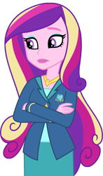 Size: 5000x8521 | Tagged: safe, artist:luckreza8, princess cadance, equestria girls, friendship games, crossed arms, dean cadance, eyeshadow, female, lipstick, makeup, simple background, solo, transparent background, vector