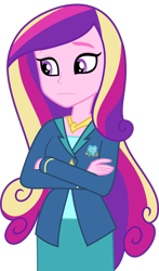 Size: 5000x8521 | Tagged: safe, artist:luckreza8, edit, editor:slayerbvc, vector edit, princess cadance, equestria girls, friendship games, crossed arms, dean cadance, female, no makeup edit, simple background, solo, transparent background, vector