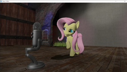 Size: 1280x720 | Tagged: safe, artist:didgereethebrony, fluttershy, pegasus, pony, 3d, gmod, microphone, solo, squee, stage, youtube link
