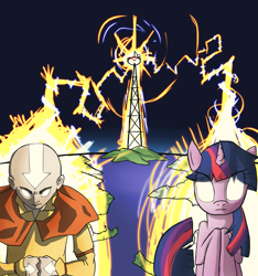Size: 1873x2000 | Tagged: safe, artist:undead-niklos, twilight sparkle, human, pony, unicorn, aang, avatar state, avatar the last airbender, crossover, electricity, glowing eyes, radio tower, reddit, snoo, unicorn twilight