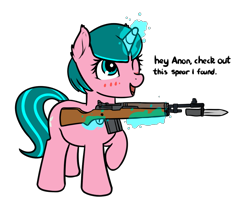 Size: 1147x923 | Tagged: safe, artist:neuro, oc, oc only, oc:lily glamerspear, pony, unicorn, bayonet, blushing, everyday life with guardsmares, female, guardsmare, gun, m14, magic, mare, one eye closed, rifle, royal guard, simple background, solo, telekinesis, transparent background, unicorn oc, weapon, wink