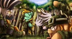 Size: 3796x2071 | Tagged: safe, artist:jamescorck, derpy hooves, lightning dust, oc, earth pony, pegasus, zebra, cringing, facehoof, failure, forest, helmet, military, military uniform, pain star, pony pile, tree, wings, x eyes