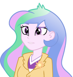 Size: 4000x4214 | Tagged: safe, artist:luckreza8, edit, editor:slayerbvc, vector edit, princess celestia, equestria girls, friendship games, absurd resolution, eye twitch, no makeup edit, principal celestia, simple background, solo, transparent background, vector