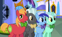 Size: 1280x758 | Tagged: safe, artist:90sigma, artist:disneymarvel96, artist:serginh, big macintosh, lyra heartstrings, minuette, thunderlane, earth pony, pegasus, pony, unicorn, bowtie, canterlot, classy, group