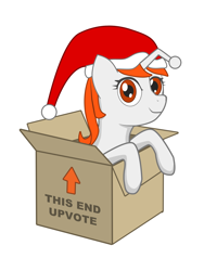 Size: 1500x2000 | Tagged: safe, artist:herpderpyhooves, oc, oc only, oc:karma, pony, unicorn, box, christmas, female, hat, holiday, mare, ponified, pony in a box, present, reddit, santa hat, sitting, smiling, solo, upvote