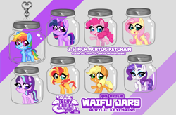 Size: 5645x3711 | Tagged: safe, artist:techycutie, applejack, fluttershy, pinkie pie, rainbow dash, rarity, starlight glimmer, sunset shimmer, twilight sparkle, alicorn, earth pony, pegasus, pony, unicorn, alternate mane seven, chest fluff, implied cum jar, jar, keychain, mane six, missing cutie mark, pony in a bottle, twilight sparkle (alicorn)
